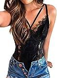 Women Lace Bodysuit Strappy Teddy Lingerie Eyelash Outfit Mesh Lace Corset Tops Black