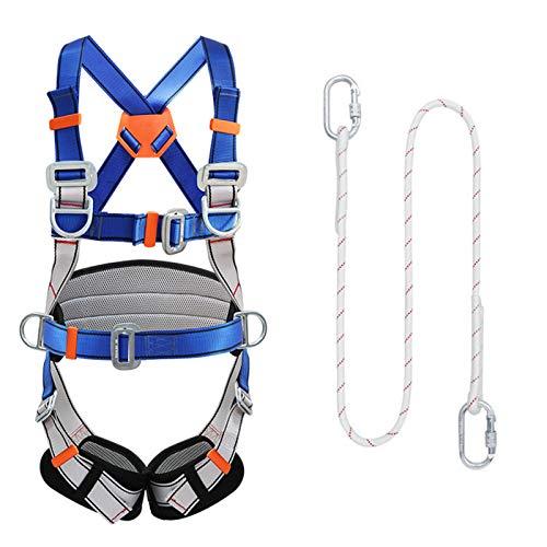 SHXN Kit Imbracatura Anticaduta Lavoro Aereo,Altezza Caduta Protezione Cintura di Sicurezza for l'arrampicata Elettricista Edilizia Esterno,Piccola Fibbia 1.2m,Single Rope HSGAV