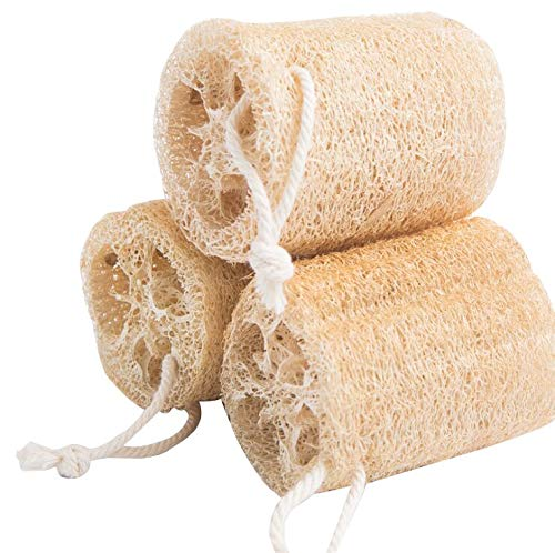 3 PCS 4 inch 100% Natural Exfoliating Loofah Sponges for Body,Organic Shower Scrubber for Skin Care in Bath Spa