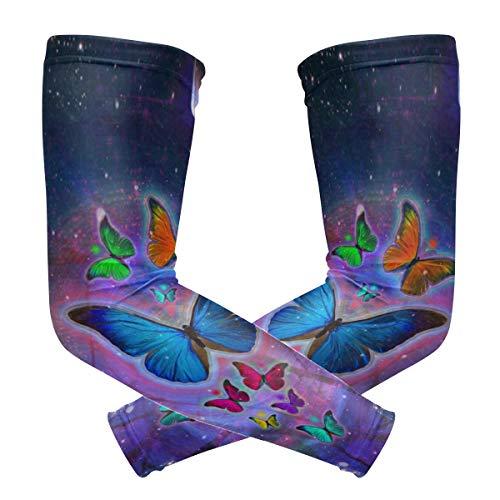 LUPINZ Abstrakte Aquarell-Schmetterlinge Kompressionsstrümpfe Armband UV-Schutz Kühlung Sonnenschutz für Outdoor-Sportarten x 1 Paar