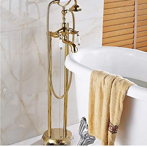 Grifo monomando de latón con dos manijas, grifo monomando para bañera, grifo para lavamanos, bañera con patas, grifo giratorio, 150 cm, manguera de ducha
