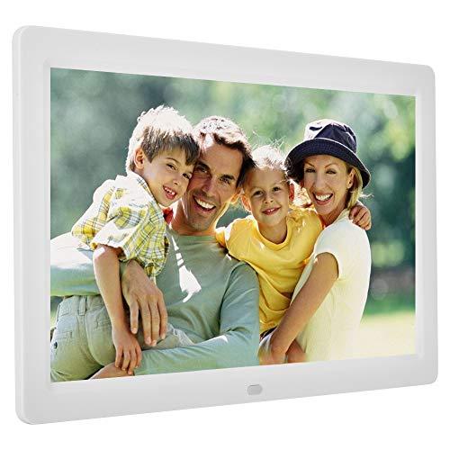 Digitaler Bilderrahmen, Full HD 12 Zoll 1280 * 800HD Display Foto/Musik/Video-Player Kalender Wecker automatischer EIN/aus Timer mit Fernbedienung, unterstützt USB-und SD-Karte(White)