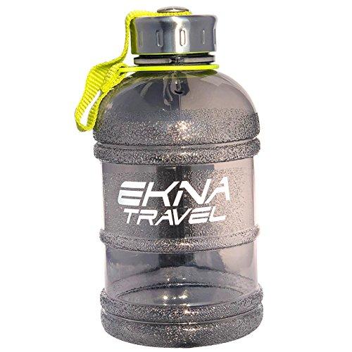EKNA Bottle | 1 Liter | Wasserflasche | Trinkflasche | Wasser Gallone | Ideal für den täglichen Wasserbedarf | Für den Alltag, Fitness oder Reisen | BPA Frei | Mit Füllstandsanzeige (Schwarz 1000ml)