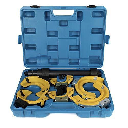 Sfeomi Federspanner mit 3 Paar Backen Mc Pherson Federbein System Federspanner 1000 kg Federspanner Kit Set Universal Werkzeug (3 Paar Backen mit Deckel)