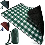 KAMUI Outdoor Waterproof Blanket - Machine Washable Picnic Blanket, Waterproof & Windproof Backing, Shoulder/Hand Strap Great for Festival, Park, Beach, Stadium Blanket 79X55inch 201X140cm Green White