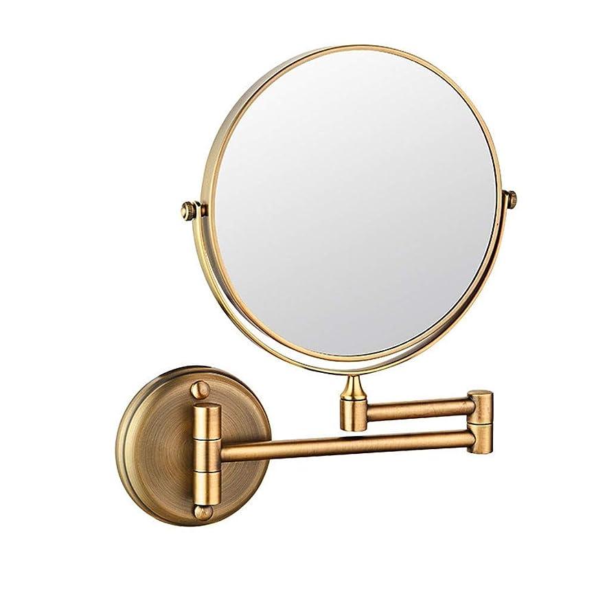 電気陽性標準きょうだい化粧鏡8インチ両面回転壁掛け鏡、延長折りたたみ式バスルームシェービング化粧品化粧鏡穴あけあり/穴あけなしの3倍黄金の真鍮製化粧鏡