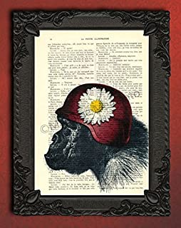 Chimpanzee with helmet and daisy print, hippie monkey decorations for living room, vintage flower ape wall art