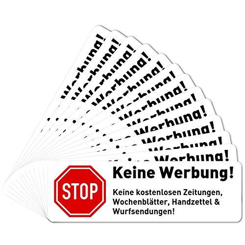 13 x Keine Werbung Aufkleber für Briefkasten (6,7 x 2,1 cm klein) - Bitte Keine kostenlosen Zeitungen und Reklame einwerfen - Keine kostenlose Zeitung - Briefkastenaufkleber - Selbstklebend - Weiss