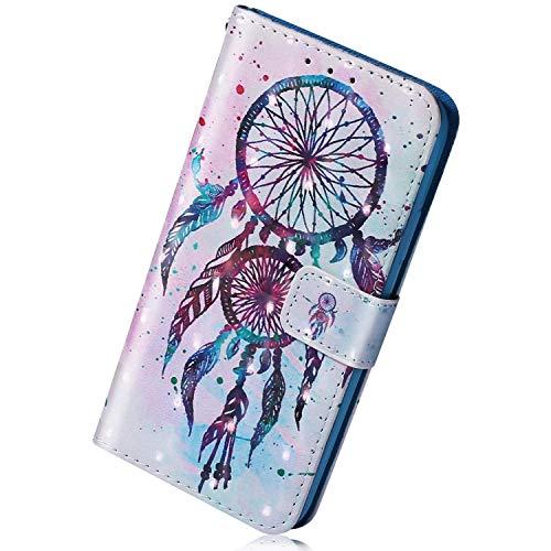 Herbests Kompatibel mit Huawei P Smart Plus 2019 Handyhülle Leder Hülle Bunt Glänzend Glitzer Muster Klapphülle Flip Hülle Brieftasche Kartenfächer Schutzhülle Magnetverschluss,Traumfänger