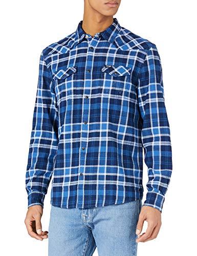Wrangler Mens Western Shirt, Limoges Blue, M