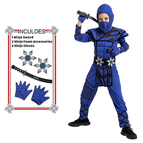 Halloween Child Boy Dragon scales blue ninja costume for party (Medium (8-10yr))