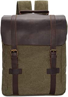 Rjj Backpack Men's Canvas Bag Outdoor Travel Schoolbag Anti-Theft Computer Backpack Waterproof Mountaineering Bag Ergonomic Carrying System 32 * 11 * H40CM Exquisite (Color : Green)