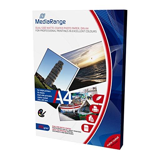 MediaRange DIN A4 Fotopapier für Tintenstrahldrucker, beidseitig matt, 200g, 50 Blatt