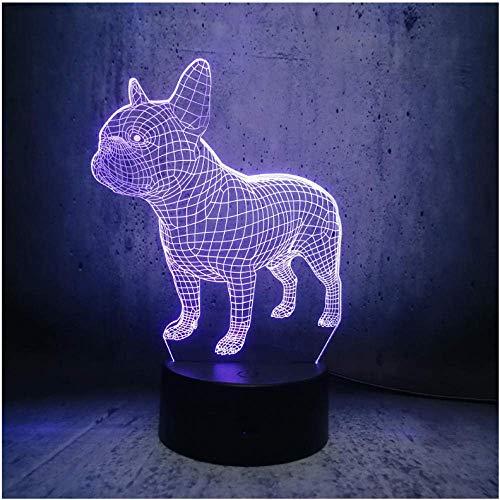 Beaux garçons animal de compagnie Illusion Doggy Bulldog LED Night Light Table côté chambre lampe enfants cadeaux de Noël décorations pour la maison