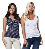 HAPPY MAMA Para Mujer 2 en el Paquete Camisetas Sin Mangas Premamá Lactancia 1069 (Blanco & Rayas de la Marina, EU 44, 2XL)
