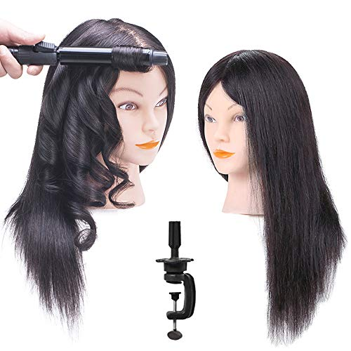 EXQUISITE LOOKS 100% Mannequin Head Human Hair with Stand, Hairdressers  Practice Training Manikin Head and Cosmotology Doll Head for Hairstyling and Braid - #1 Natural Black
