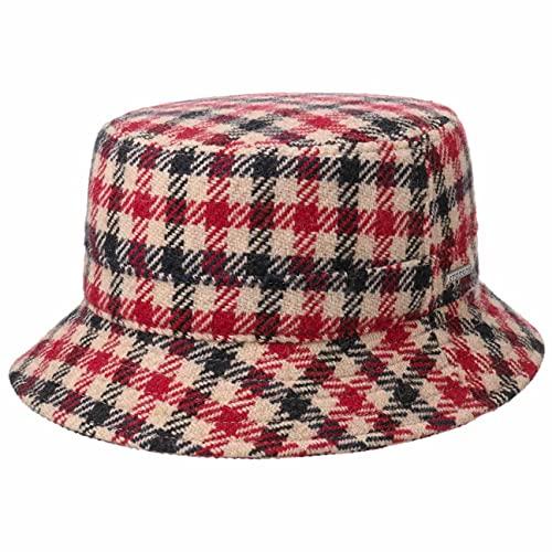 Stetson Cappello di Tessuto Vichy Check Bucket Uomo - Made in The EU a Quadri da Pescatore Lana con Fodera, Fodera Autunno/Inverno - XL (60-61 cm) Rosso