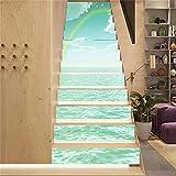 13 PCS 3D Agua clara, cielo azul y arco iris. Pegatinas de Escalera, Ecológicas PVC Autoadhesivas Calcomanías para Escalera Impermeables (18 cm X 100cm / 7.1x39.4inch)
