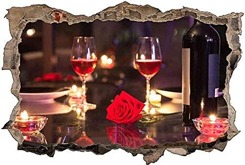 Murales Cena de vino romántica Extraíble Agujero rasgado Decoración Papel tapiz Pvc Arte Guardería Obra de arte Decoración de pared para guardería - 60x90cm