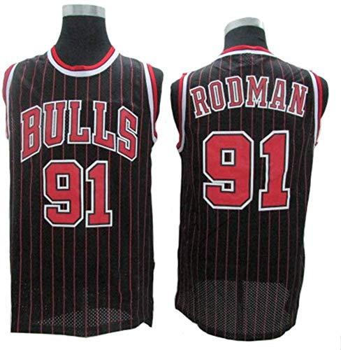 GLACX Men's NBA Chicago Bulls 91# Rodman Jersey Baloncesto Sin Mangas Top, Classic Retro Top Camiseta, Malla Deportiva Transpirable,M