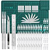 105 PCS Precision Carving Craft Hobby Knife Kit Includes 92 PCS Carving Blades with 2 Handles, 11 PCS SK5 Art...