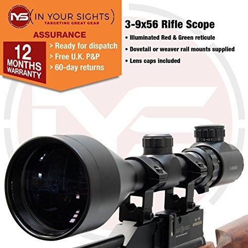 In Your Sights 3-9x56 Gewehr Zielfernrohr. Beleuchtet Rot & Grün Fadenkreuz Umfang Komplett mit Halterungen - 20mm Weaver Mounts