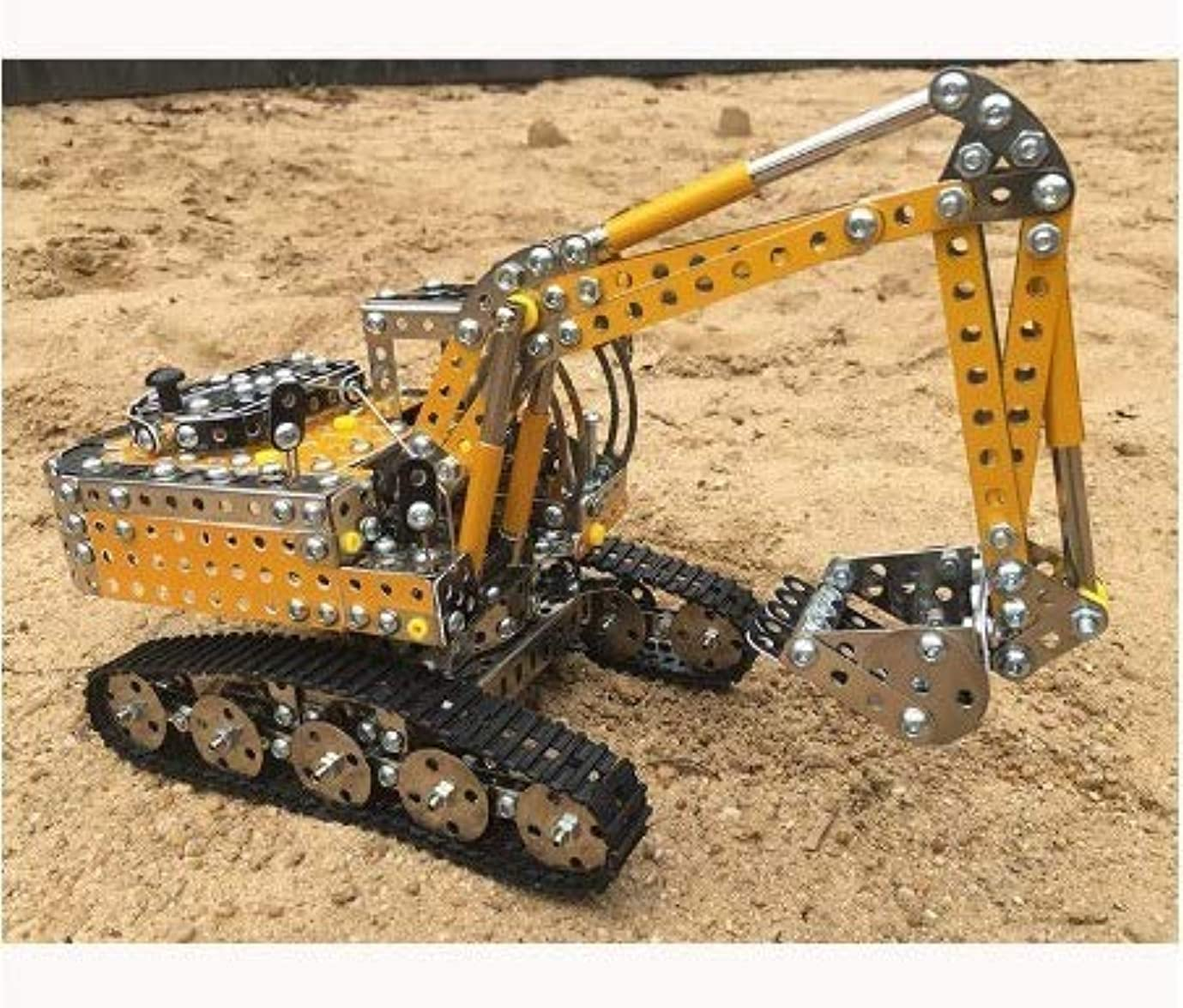 突き出すに向かって大胆不敵ホワイト DIY 金属組み立ておもちゃ ねじ ナット 分解 ビルディングブロック トラックモデル ショベル コレクション パズル キット