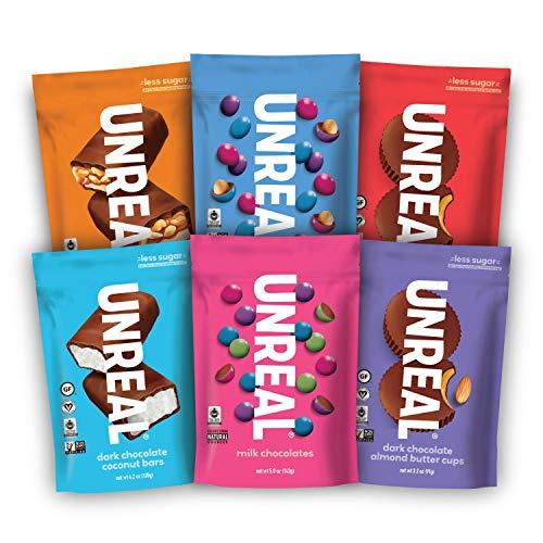 UNREAL Complete Variety Pack | Less Sugar, Fair Trade, Non-GMO | 6 Bags, 5 ounces