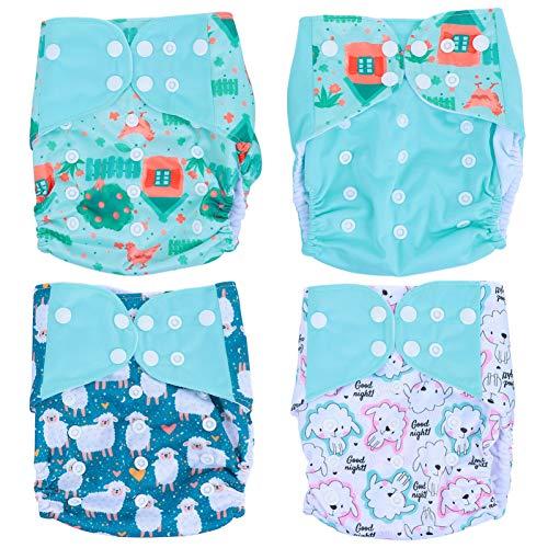 Aboofan 4 peças de fraldas de bolso para bebê, fraldas ajustáveis e laváveis e reutilizáveis para bebês e meninas, Light Green, 35.5×35cm