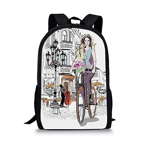 AOOEDM Fashion House Decor Elegante Bolso de Escuela, Chica con Bicicleta y Rosas en una Calle Tour romántico de músicos del Casco Antiguo en la Ciudad para niños, 11 'L x 5' W x 17 'H