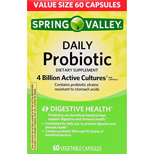 Spring Valley Daily Probiotic Vegetable Capsules, 4B CFU, 60 Ct