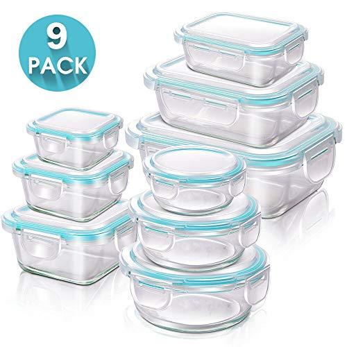 MASTERTOP 9 Pcs Frischhaltedose Glas mit Deckel, Meal Prep Boxen mit 3 Verschiedene Formen, Luftdichte Vorratsbehälter Glas für Küche