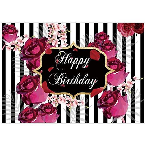 Allenjoy Floral Happy Birthday Party Fondo Rosas Flores Blan