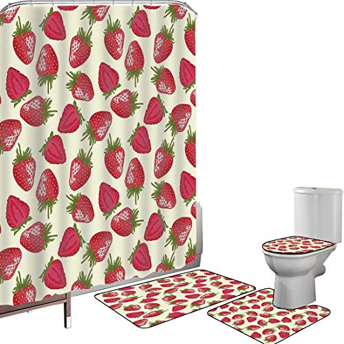 Shower Curtain Set Bathroom Accessories Carpet Set Fruits Bath Mat Contour Rug Toilet Cover Strawberries Vivid Growth Plant Vitamin Organic Diet Refreshing Image Decorative,Eggshell Red Olive Green No
