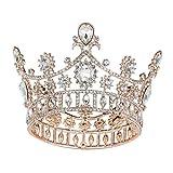 SWEETV Rose Gold Krone Cake Topper, Barock Queen Crown für Frauen, Kostüm Party Zubehör für Hochzeit Brithday Halloween Babyshower Pageant
