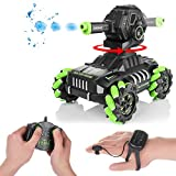 RC Tank Car,12Km/h All Terrains Electric Vehicle Can Launch Water Bomb Armored Car with 180° Rotating Shooting & 360° Rotating Vehicle,2.4Gz Remote Control Children's Toy Car for Boys Kids (Green)
