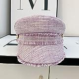 202008-708552546 Otoño Clásico Tela Tassels Metal Hebilla Color Plaid Ocio Lady Octagonal Hat Men Mujeres Viseras Cap (Color : Lavender, Hat Size : One Size)
