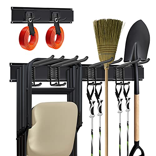 T-SIGN Strengthen Garage Tool Organizer Wall Mount, Heavy Duty Garden Storage Organization for Folding Chair Ski, Yard Rack System Lawn Holder with 2 Cable Straps 3 Tracks 6 Hooks, Max 450bls Black
