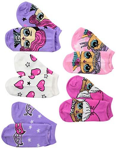 L.O.L. Surprise! girls Lol Surprise! 5 Pack No Show Socks, Pink/Purple/Multi, Fits Sock Size 9-11 Fits Shoe Size 4-10.5 US