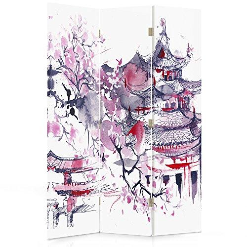 Feeby Frames Biombo Impreso sobre Lona, tabique Decorativo para Habitaciones, a una Cara, de 3 Piezas (110x150 cm), Cerezo del JAPÓN, ABSTRACCIÓN, Morado
