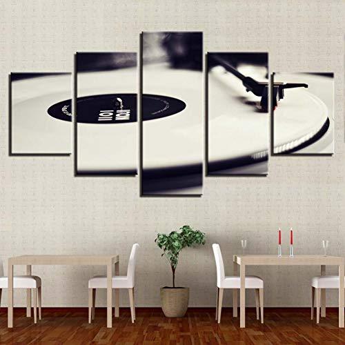 MMLFY 5 opeenvolgende schilderijen canvas muurkunst foto's wooncultuur 5 stuks phonograaf schilderijen HD print wit muziek DJ console platenspeler poster