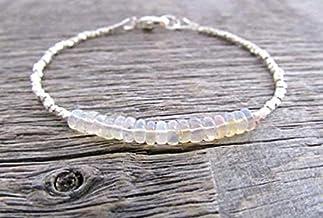 etiope Opale braccialetto, braccialetto Welo Opale, gioielli, Hill Tribe bracciale Argento, pila, Chakra, braccialetto por...