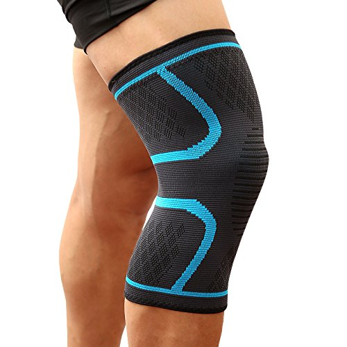 Knee Support Brace,ShiLiTech Premium Recovery & Compression Sleeve for Meniscus Tear, ACL, MCL Running & Arthritis - Best Neoprene Stabilizer Wrap for Crossfit, Squats & Workouts - for Men (Blue, M)