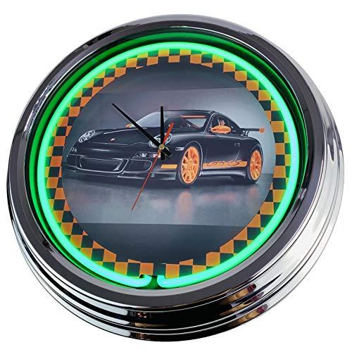 Neon Uhr Porsche GT3 Wanduhr Deko-Uhr Leuchtuhr USA 50's Style Retro Neonuhr Esszimmer Küche Wohnzimmer Büro (Grün)