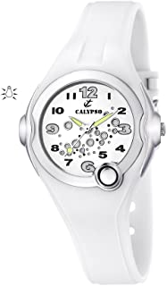 880756a86 Calypso Girl's Quartz Watch with White Dial Analogue Display and White  Plastic Strap K5562/1