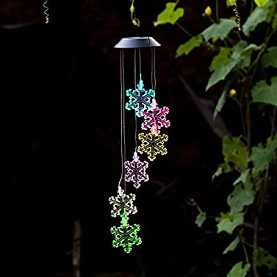 Amazing Wind Chime,Color Changing Solar Mobile Wind Chimes Lights Hanging Wind Bell Light Night Hanging lamp for Patio Garden Lighting Home Decoration with Spinning Hook (Snowflake)