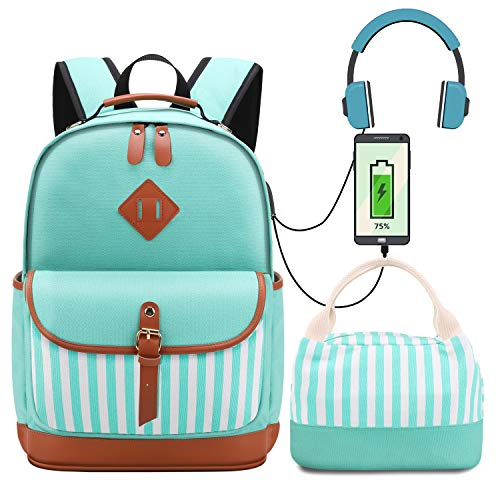 Teen Girls Backpacks Set with Lunch Tote Bag High School Bookbag Canvas Backpack with USB Port Womens 15.6 inch Laptop Backpack Green Set