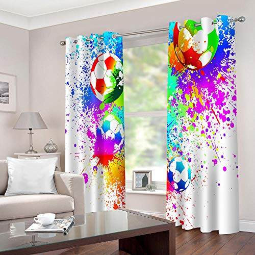 WAFJJ Cortinas Dormitorio Moderno Color y fútbol Blackout Curtain Cortina Opaca Suave para Ventanas de Habitación Juvenil con Ojales Estar Niño Tamaño:2x75x166cm(An x Al)