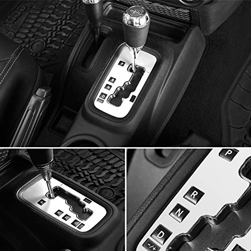 E-cowlboy Trim Gear Frame Cover Gear Shift Box Cover for Jeep Wrangler 2012~2018 Aluminum Inner Accessories Custom Fit - All Weather Protection (White)