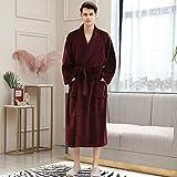 YRTHOR Ropa de dormir para hombre, mujer, de invierno, a cuadros, tamaño grande, albornoz largo de franela de 40 a 130 kg, bata de baño cálida, bata de kimono acogedora, bata para hombre, vino